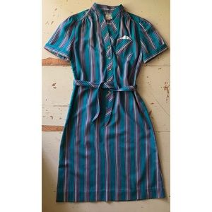 VTG 1970's Schrader Sport striped dress